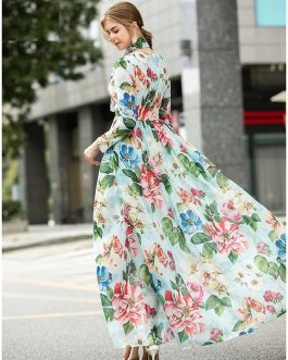 Runway Elegant Charming Big Flower Print Bohemian Long Sleeve Long Dress