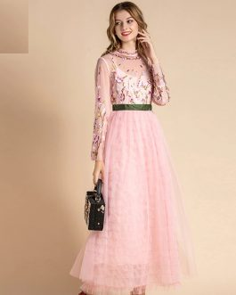 Runway Elegant Long Sleeve Floral Embroidery Mesh Patchwork Party Dress