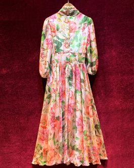 Runway Vintage Bow Collar Lantern Sleeve Flower Print Chiffon Dress