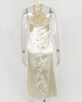 Satin Halter Backless Sexy Sleeveless Pencil Dress