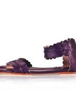 Scalloped Band Leather Sandals