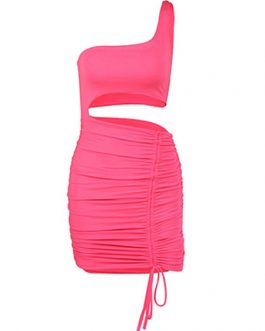 Sexy Bodycon One Shoulder Cut Out Drawstring Pencil Dress