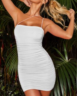Sexy Bodycon Strapless Sleeveless Ruched Dress