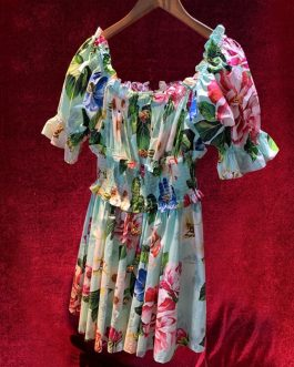 Sexy Off Shoulder Custom Button Flower Print Runway Cotton Short Dress