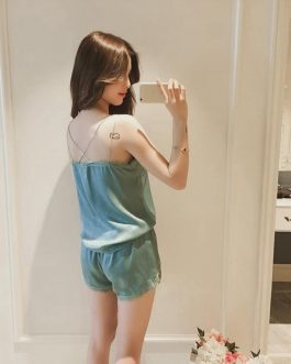 Sexy Satin Lace Sleeveless Top and Shorts Sleepwear