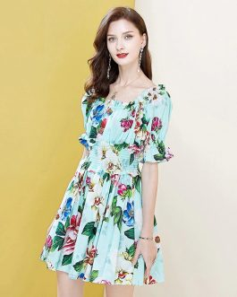 Sexy Slash Neck Elastic Waist Button Floral Print Elegant Cotton Mini Dress