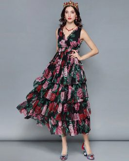 Sexy V Neck Sleeveless Vintage Rose Floral Print Ruffles Holiday Dress