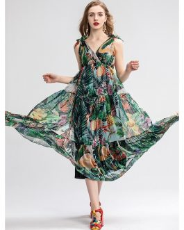 Sexy Vintage Chiffon Floral Print Holiday Party Dress