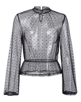Sheer Blouse Tulle High Collar Long Sleeves Tops