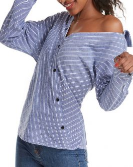 Shirt Stripes Asymmetrical Buttons Turndown Collar Casual Long Sleeves Pure Cotton Tops