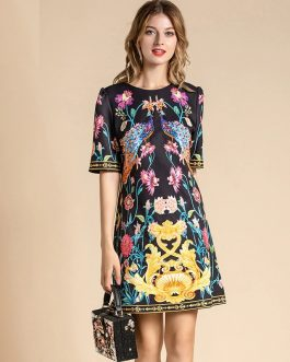 Short Sleeve Animal Floral Print Beading Loose Vintage Dress
