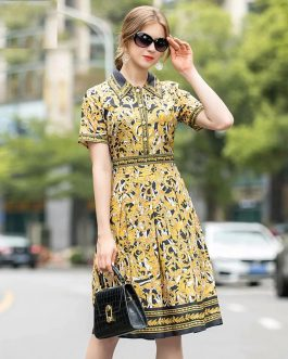 Short Sleeve Golden Totem Print High Waist Party Vintage Dress