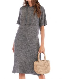 Short Sleeve Oversized Hooded Beach Dress