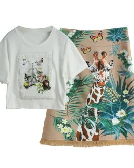 Short Sleeve Top and Animal Floral Print Mini Skirts Two Pieces Set Suit