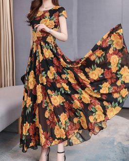 Short Sleeves Floral Print Chiffon Maxi Dress