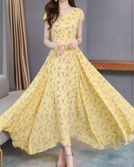 Short Sleeves Print Jewel Neck Chiffon Maxi Dress