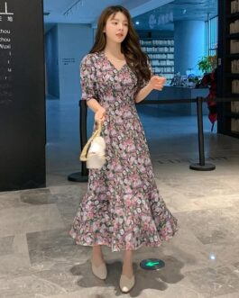 Short Sleeves V Neck Chiffon Floral Maxi Dresses