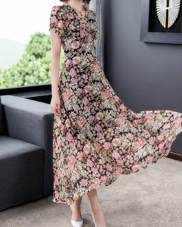 Short Sleeves V Neck Chiffon Floral Maxi Dresses