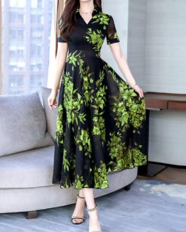 Short Sleeves V Neck Chiffon Swing Floral Maxi Dress