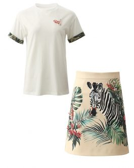Short sleeve T-shirt+Pearl Zebra Print Skirt Suit