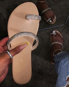 Simply-Designed Sandals – Jeweled Straps Almond Toes