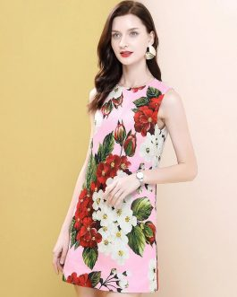 Sleeveless Floral Print Beading Fashion Runway Mini Dress