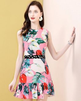 Sleeveless Polka Dot Floral Print Ruffles Beading Runway Short Dress