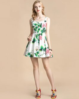 Spaghetti Strap Floral Print Elegant Cotton Mini Dress