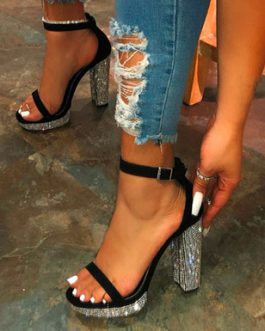 Sparkly 4.5 Chunky Heels – Narrow Straps Tiny Buckles