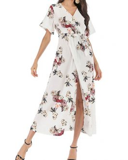 Split Wrap Short Sleeves Chiffon Floral Maxi Dress