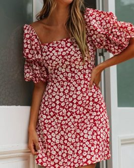 Square Neck Floral Print Puff Sleeve Sundress