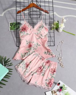 Stain Lace Floral Sling Silk Two Piece Sleepwear