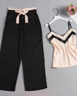 Stain Silk Top And Long Pants Strap Sling Sexy Sleepwear
