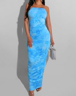 Strapless Backless Tie Dye Sexy Maxi Dresses
