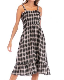Straps Neck Plaid Polyester Beach Dress