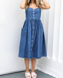 Straps Neck Pockets Denim Beach dress