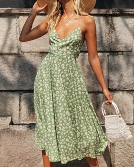 Casual Straps Neck Printed Beach Dress