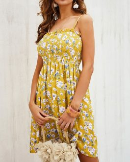 Straps Neck Printed Sleeveless Beach Dress