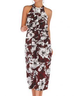 Straps Neck Printed Chiffon Beach Dress