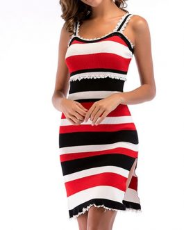 Straps Neck Stripes Beach Dress