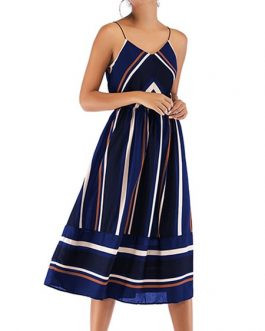 Straps Neck Stripes Chiffon Beach Dress