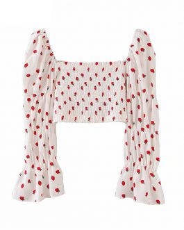 Strawberry Print Square Collar Blouse Shirts