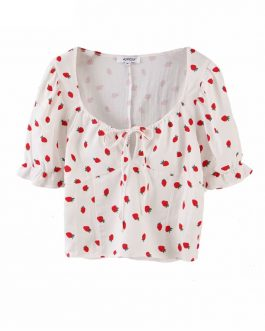 Strawberry Print V-Neck Short Sleeve Blouse