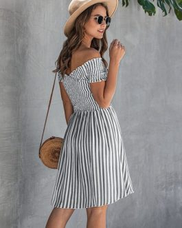 Stripe Sexy Off Shoulder Streetwear Elegant Crossed Short Sleeve Short Dress