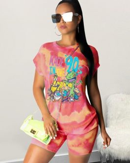 Tie-dyed Cartoon Print Short Sleeve Top Tees And Shorts Streetwear Two piece Set
