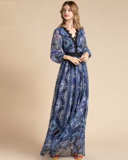 V-Neck Floral Embroidered Patchwork Pattern Print Boho Chiffon Long Party Dress