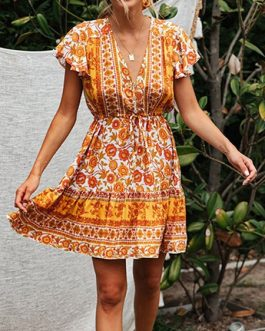 V Neck Lace Up Floral Print Cotton Blend Beach Dress