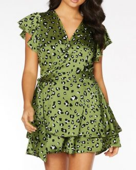 V Neck Leopard Print Polyester Beach Dress