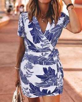 V Neck Printed Lace Up Beach Dress
