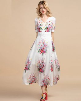 V-neck Lace Sequin Beading Floral Print A line Holiday Boho Long Dress